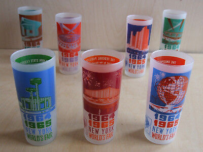 New York World's Fair 1964–1965 frosted tall glasses set of 7 different designs