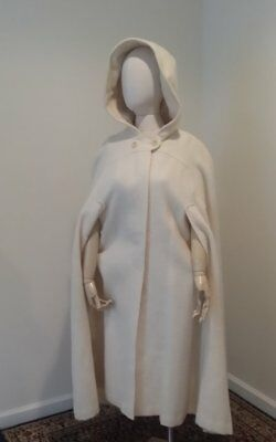 Vintage Hilda ivory colored wool buttoned cape & hood