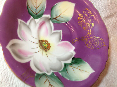 Vintage Ucagco Saucer Hand Painted Flower Gilded Leaves Purple Replacement