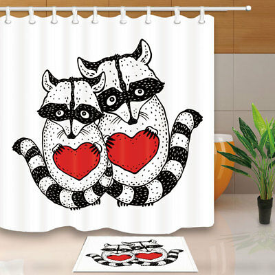 Cute Raccoon With Heart In Hands Shower Curtain Set Fabric &12 Hook 71Inches