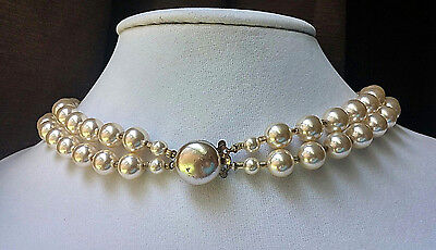 """Vintage Cream Color Faux Pearl & AB Coated Glass Bead 2 Strand 18"""" Necklace"""