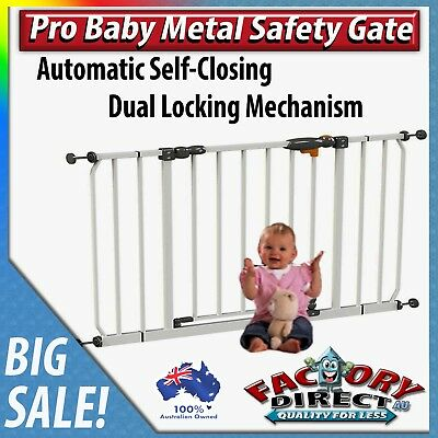Pro Baby Metal Gate Dual Lock Mechanism Automatic Self-Closing Kids Pets Safety