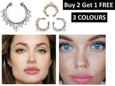 Fake Septum Clicker Nose Ring Non Piercing Hanger Clip On Jewelry Hotsale -B2G1F