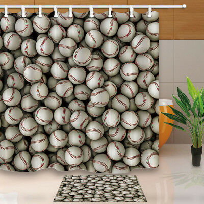 Baseball Pattern For Sport Lover Shower Curtain Set Waterproof Fabric & Hook 71""