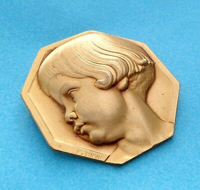 """French, Vintage Large Brooch. Girl """"Anna"""". Art Deco. By Turin. Jewelry. Medal."""