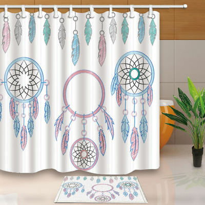 Watercolor Dream Catcher Shower Curtain Set 71 Inch Bathroom Waterproof Fabric