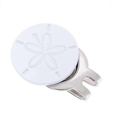Alloy White Flower Pattern Magnetic Cap Hat Visor Clip Golf Ball Marker Gift