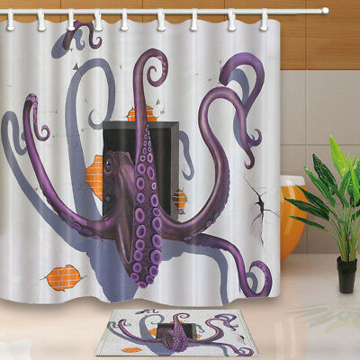 Creative Octopus Out of Brick Wall Fabric Bath Shower Curtain Set & 12 Hooks 71""