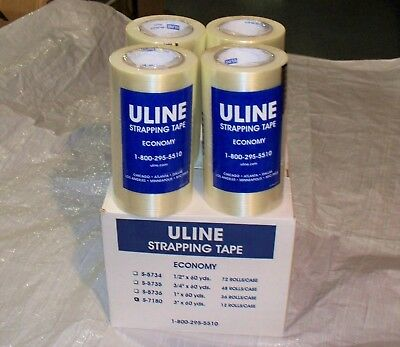 """ULINE STRAPPING TAPE 3"""" x 60 yds. Case of 12 rolls. Reinforced Filament Tape 3M"""