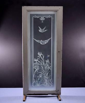 *Antique French Etched Glass Window/Door or Panel with Flowers and Swans 2