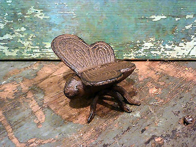 Brown Cast Iron Butterfly Insect Home Garden Yard Lawn Outdoors Patio Art Decor