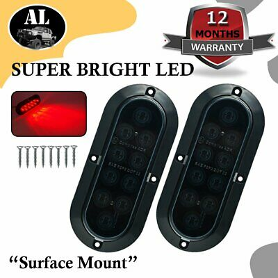 "2X 10LED 6"" Red Oval Smoked Lens Surface Mount Brake Tail Light Truck Trailer"