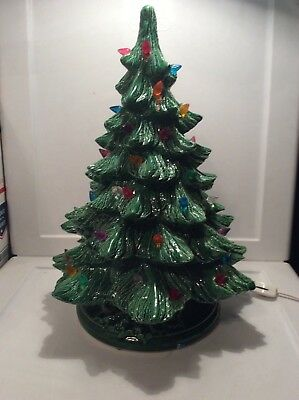 "Vintage Ceramic Lighted 16"" Christmas Tree With Detached Light Switch"