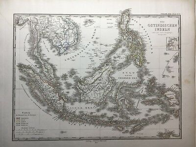 Lg. Antique PERTHES 1872 Map of East Indies, Viet Nam, Malaysia, Phillipines