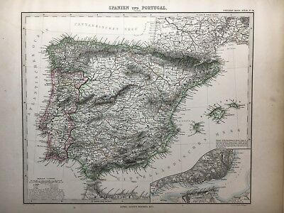 Lg. Antique PERTHES 1875 Map of Spain and Portugal