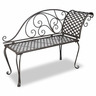 Patio Outdoor Metal Garden Bench Seat Chaise Lounge Antique Brown Scroll-pattern