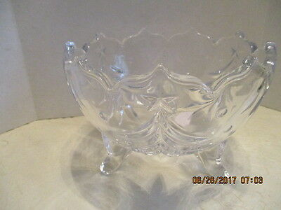 Round Clear Cut Glass Embossed Scallop Top Rim Footed Candy/Flower Bowl/Planter