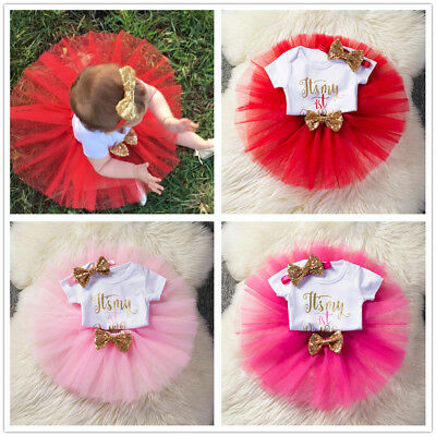 1st Birthday Girl Tutu Cake Dress Outfit It's My First Birthday Photo Shoot Sets