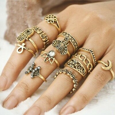 Retro Vintage Elephant Moon Hasma Hand Crystal Joint Knuckle Nail Ring Set 13pcs