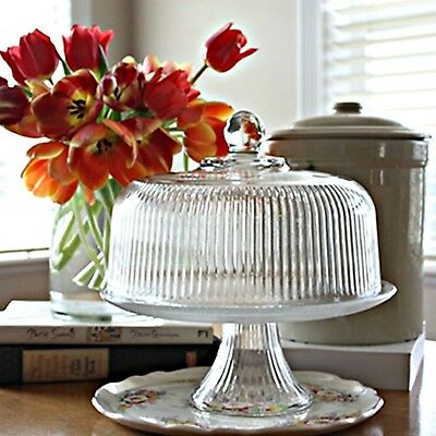 Cake Plate Set Pastry Platter Stand Lid Punch Bowl Glass Clear w/ Ribbed Dome