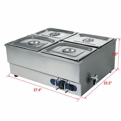 Stainless Steel Food Warmer Electric Bain Marie  4 Pots & Lids 1/2 GN Food Grade