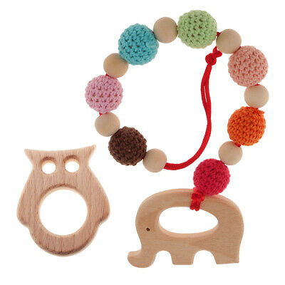 2Pcs Wooden Crocheted Beads Teether Bracelet DIY Pacifier Owl Ring for Baby