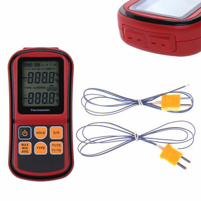 Digital Thermometer Dual Channel Input Thermocouple K J T E R S N C/F Type UK