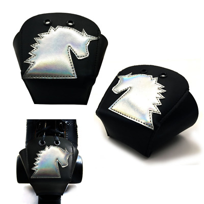 Karlchoupte Leather Roller Skate Toe Guards with Unicorn black
