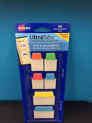 Avery Ultra Tabs 2-sided Writable Smudge Free 56 Pack Clip & Go Carrier