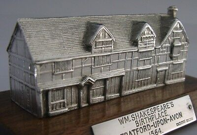 RARE GOOD SIZE ENGLISH STERLING SILVER WILLIAM SHAKESPEARE HOUSE 1963 4.5inch