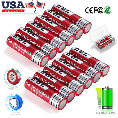 EBL 2-18pcs 3000mAh 18650 Li-ion Rechargeable Batteries Pack for LED Flashlights