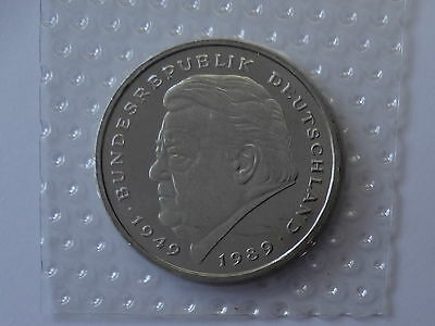2 Deutsche Mark - aus KMS in Folie, 1997 A, ST, Franz-Josef Strauß