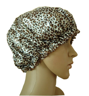 Bllomsem Shower Cap Safari Spots Leopard Cap Satin Material Double Thick Shower