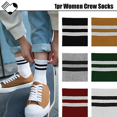 1 Pair Women Socks Hosiery Crew Stripe Line Sporty Vintage Casual