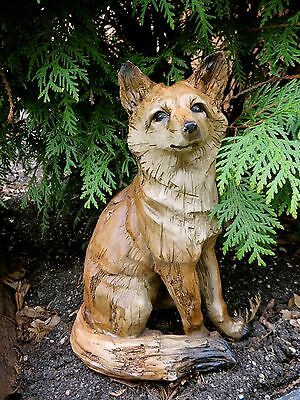 """Fox Sitting Figurine Resin Animal Statue Smart Sly Red New Foxes 10"""" Ornament"""
