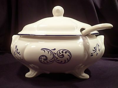 Ironstone Soup Tureen with Ladle, Lidded, Footed; White, Blue, Late 20th Century