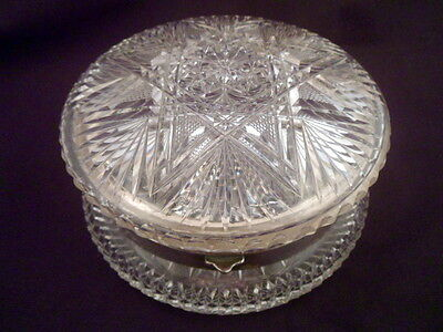 Large Pairpoint Crystal Dresser Box, American Brilliant Period, Pearl Pattern
