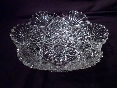 Bowl, American Brilliant Period, Hobstars, Fans, Scalloped Toothed Rim, Exc Cond