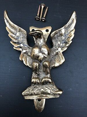 Vintage Reclaimed Solid Brass Golden Eagle Bird Door Knocker Old Retro