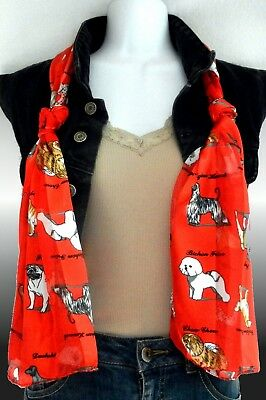 Silk Feel Dog Scarf-Dogs Puppies with Breed Names Poodle Dalmatian etc. Red 1197