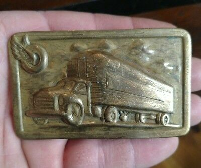 Rare Antique 1940s 50s Semi Truck Goodyear Tire Belt Buckle punched brass