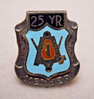 Vintage Sterling Silver Masonic 25 Year Member Blue Lodge Lapel Pin - Union Made