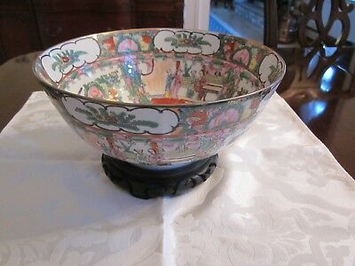 """Vintage Chinese Hand Painted Rose Medallion Bowl with Wood Stand 10 1/8"""""""