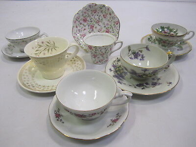 """Mixed Lot Vtg Mid Century """"Mad Hatter Tea Party"""" Set (6) Cups Saucers Wedding J6"""