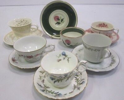 """Mixed Lot Vtg Mid Century """"Mad Hatter Tea Party"""" Set (6) Cups Saucers Wedding J3"""