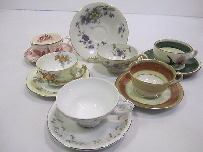 """Mixed Lot Vtg Mid Century """"Mad Hatter Tea Party"""" Set (6) Cups Saucers Wedding J5"""