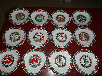 12 Days Of Christmas Salad Plates TIENSHAN Deck The Halls Gold Trim Poinsettia