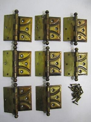 Vintage Antique NATIONAL MFG. CO.-- 8 Surface-Mount, Brass Finish, Ball Hinges