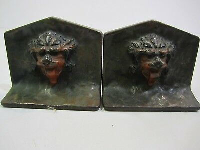 Antique Vintage Cast Metal Lion Head or Chinese Guardian Lion Bookends