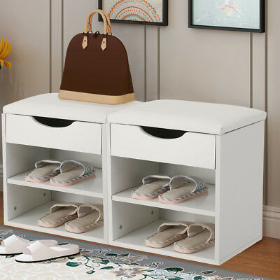 White Wood Shoe Storage Closet Shelf Ottoman Bench Cabinet Rack